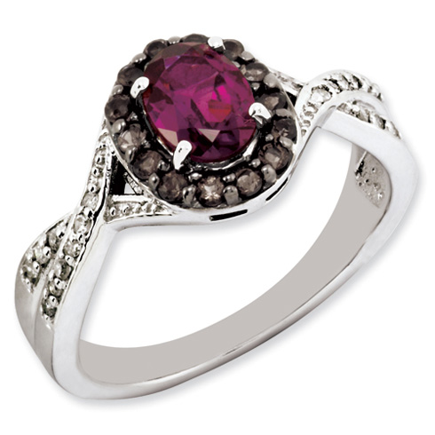 Sterling Silver 1.05 ct Rhodolite Garnet Smokey Quartz and Diamond Ring