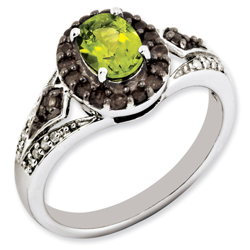 Sterling Silver 1.05 ct Peridot Ring with Smoky Quartz and Diamonds