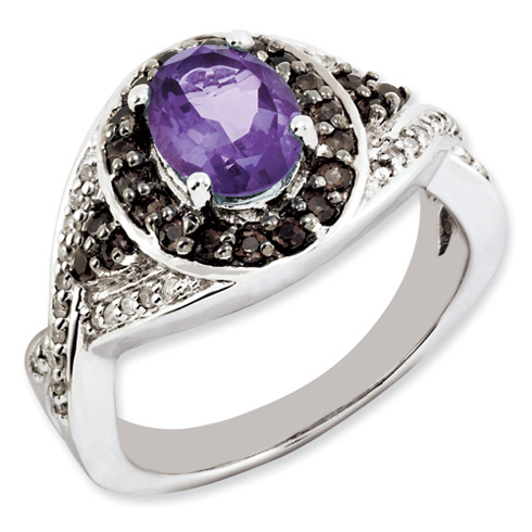 1.05 ct Sterling Silver Amethyst and Smokey Quartz and Diamond Ring