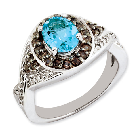 1.35 ct Sterling Silver Light Swiss Blue Topaz and Smokey Quartz and Diamond Ring