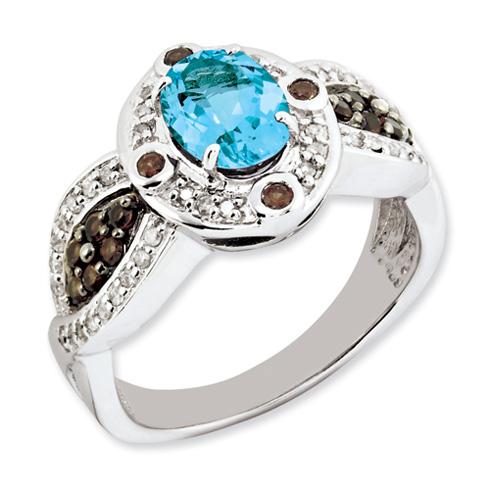 1.35 ct Sterling Silver Light Swiss Blue Topaz and Smokey Quartz and Diamond Ring
