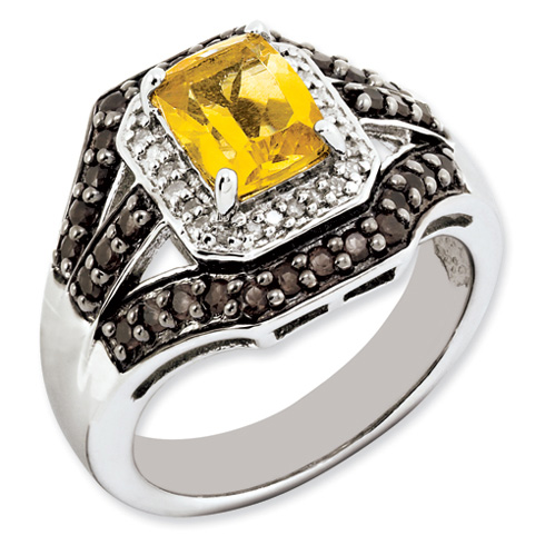 Sterling Silver 1.45 ct Citrine Ring with Smoky Quartz and Diamonds