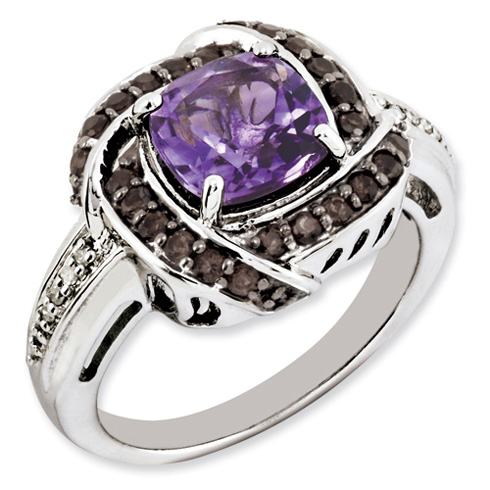 Sterling Silver 2.5 ct Amethyst and Smokey Quartz and Diamond Ring