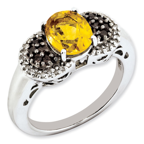 Sterling Silver 1.72 ct Oval Citrine Ring Smoky Quartz and Diamonds