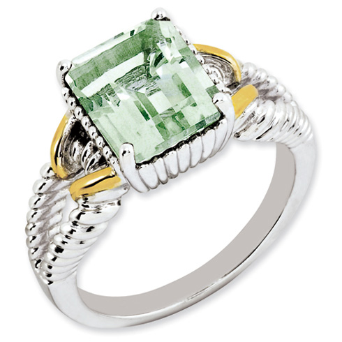2.9 ct Sterling Silver Gold-Plated Green Quartz Ring