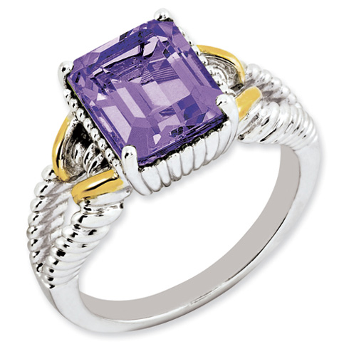 3 ct Sterling Silver Gold-Plated Amethyst Ring