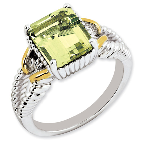 2.9 ct Sterling Silver Gold-Plated Lemon Quartz Ring