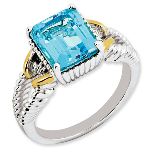 4 ct Sterling Silver Gold-Plated Light Swiss Blue Topaz Ring