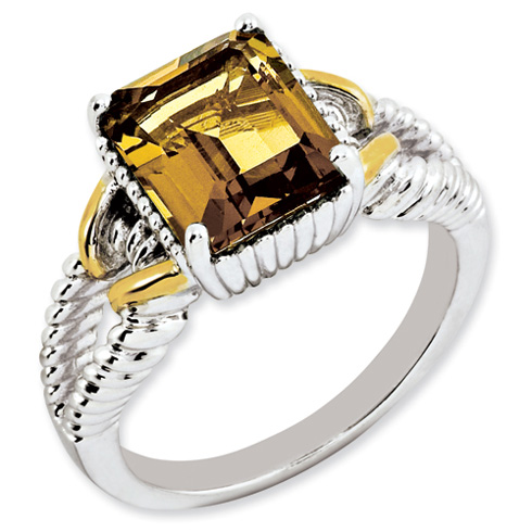 2.9 ct Sterling Silver Gold-Plated Whiskey Quartz Ring