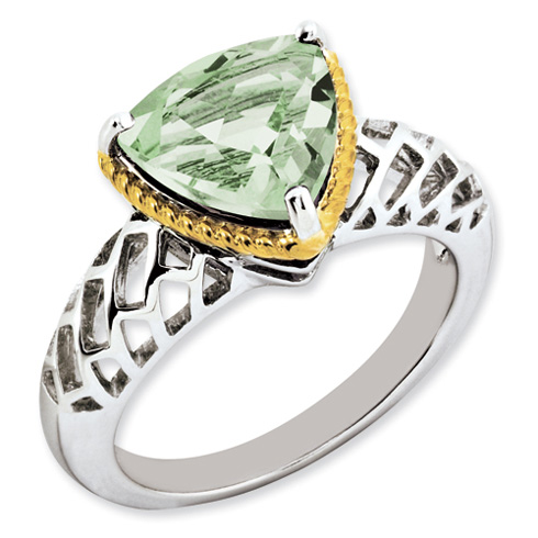 3.02 ct Sterling Silver Gold-Plated Green Quartz Ring