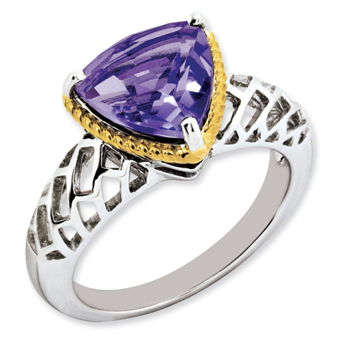 3.02 ct Sterling Silver Gold-Plated Amethyst Ring