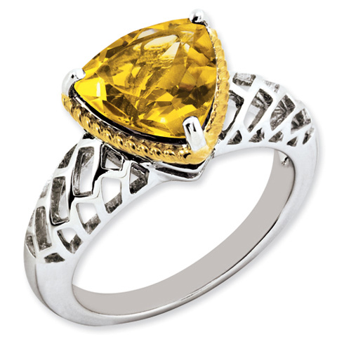 3 ct Sterling Silver Gold-Plated Citrine Ring