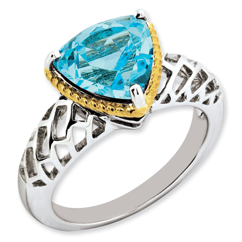 4.5 ct Sterling Silver Gold-Plated Light Swiss Blue Topaz Ring