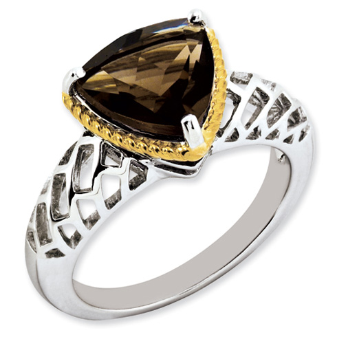 3.02 ct Sterling Silver Gold-Plated Smokey Quartz Ring