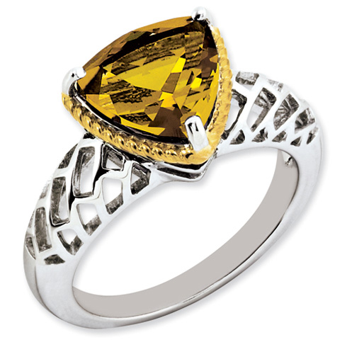3.02 ct Sterling Silver Gold-Plated Whiskey Quartz Ring