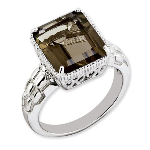 5.4 ct Sterling Silver Smokey Quartz Ring