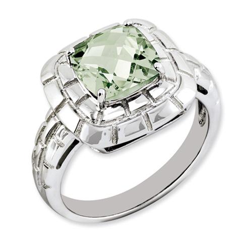 2.25 ct Sterling Silver Green Quartz Ring