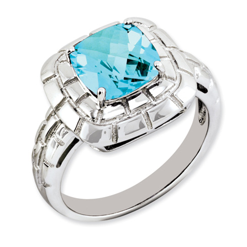 2.7 ct Sterling Silver Light Swiss Blue Topaz Ring