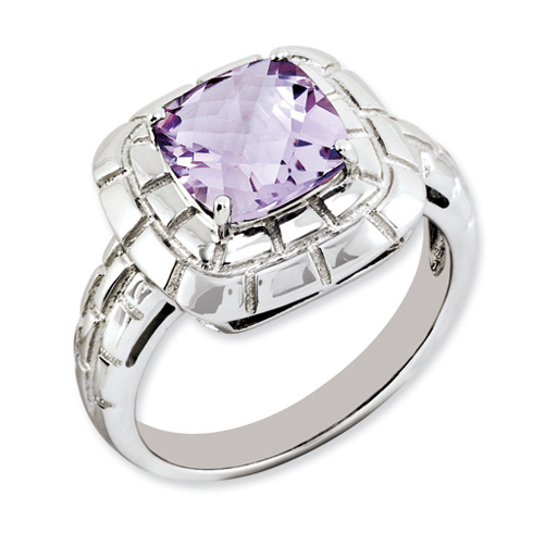 2.25 ct Sterling Silver Pink Quartz Ring