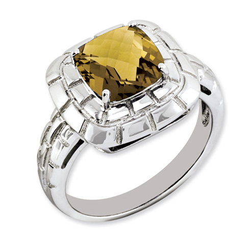 2.25 ct Sterling Silver Whiskey Quartz Ring