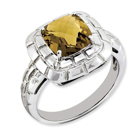 2.25 ct Sterling Silver Whiskey Quartz Ring