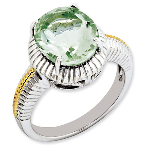 4.5 ct Sterling Silver Gold-Plated Green Quartz Ring