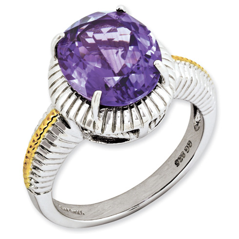 4.25 ct Sterling Silver Gold-Plated Amethyst Ring