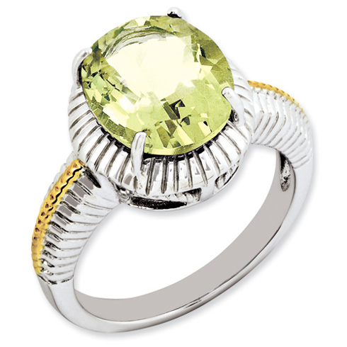 4.5 ct Sterling Silver Gold-Plated Lemon Quartz Ring