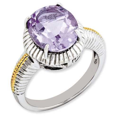 4.5 ct Sterling Silver Gold-Plated Pink Quartz Ring