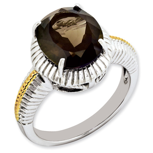 4.5 ct Sterling Silver Gold-Plated Smokey Quartz Ring