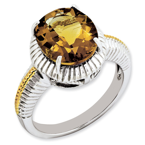 4.5 ct Sterling Silver Gold-Plated Whiskey Quartz Ring