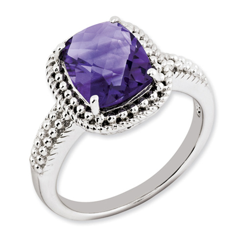 2.85 ct Sterling Silver Amethyst Ring