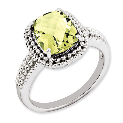 Sterling Silver 2.96 ct Lemon Quartz Ring with Beaded Texture