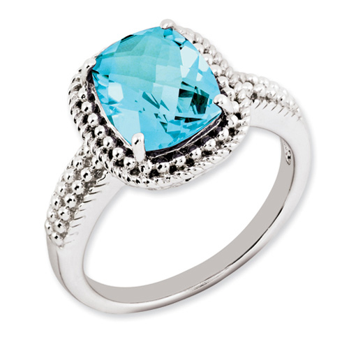 3.15 ct Sterling Silver Light Swiss Blue Topaz Ring