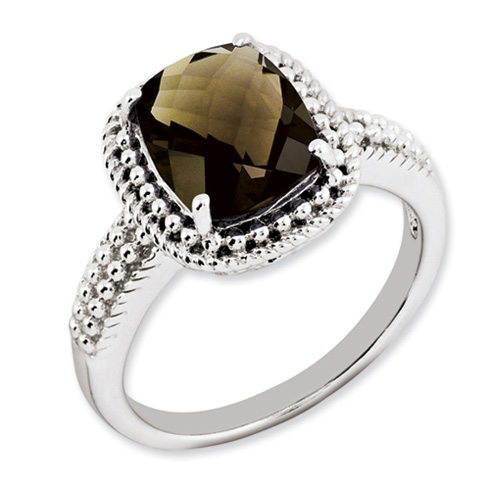 Sterling Silver 2.96 ct Smoky Quartz Beaded Ring