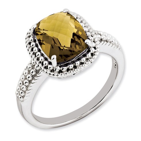 2.96 ct Sterling Silver Whiskey Quartz Ring