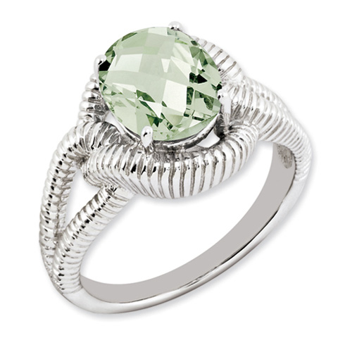 2.45 ct Sterling Silver Green Quartz Ring