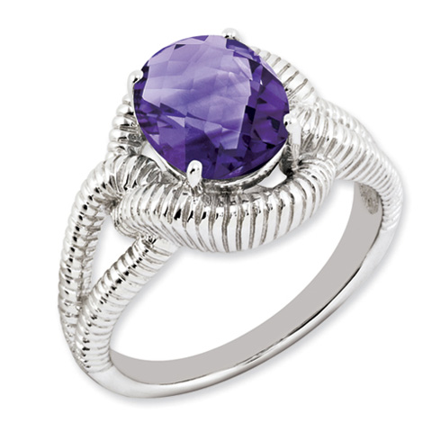 2.2 ct Sterling Silver Amethyst Ring