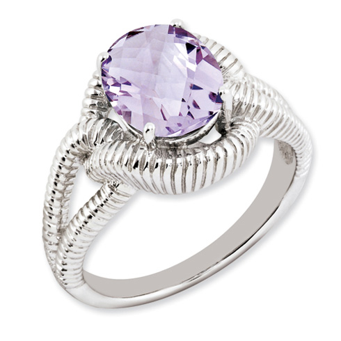 2.45 ct Sterling Silver Pink Quartz Ring