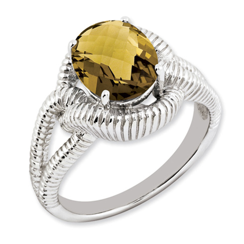 2.45 ct Sterling Silver Whiskey Quartz Ring