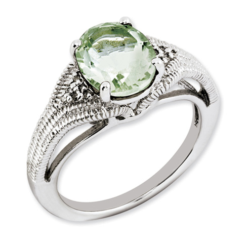 2.4 ct Sterling Silver Green Quartz and Diamond Ring