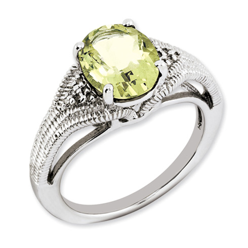 2.4 ct Sterling Silver Lemon Quartz and Diamond Ring