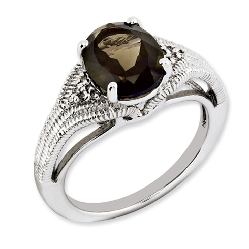 2.4 ct Sterling Silver Smokey Quartz and Diamond Ring