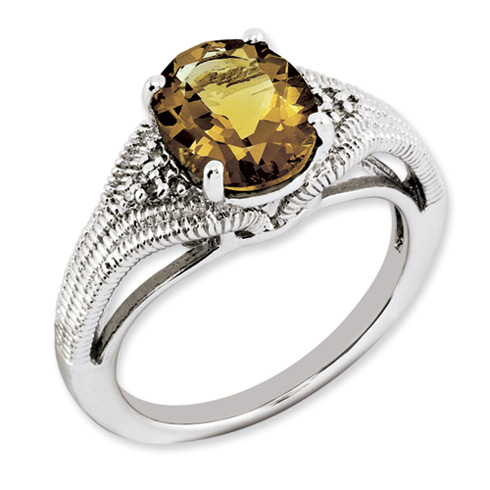 2.4 ct Sterling Silver Whiskey Quartz and Diamond Ring