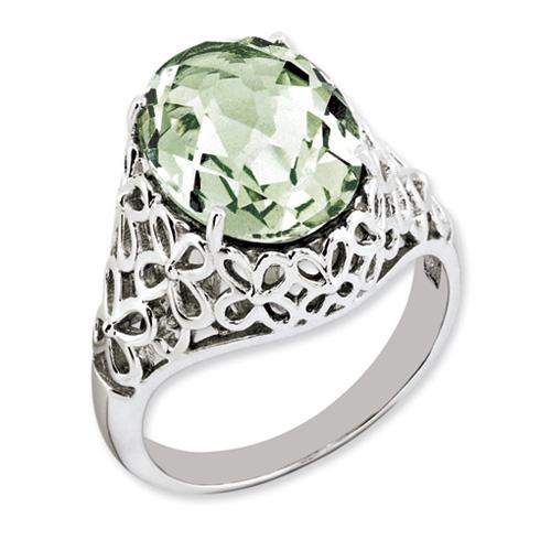 5.4 ct Sterling Silver Green Quartz Ring