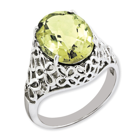 5.4 ct Sterling Silver Lemon Quartz Ring