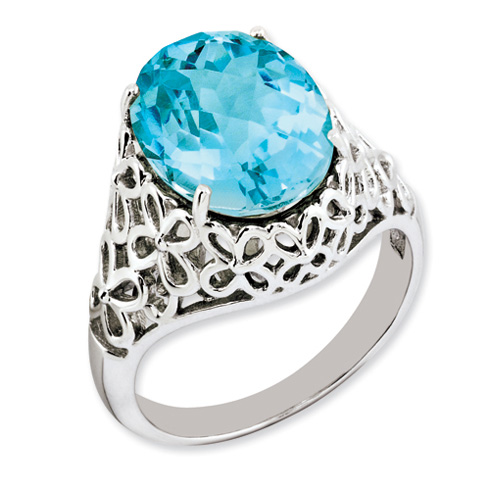 7 ct Sterling Silver Light Swiss Blue Topaz Ring
