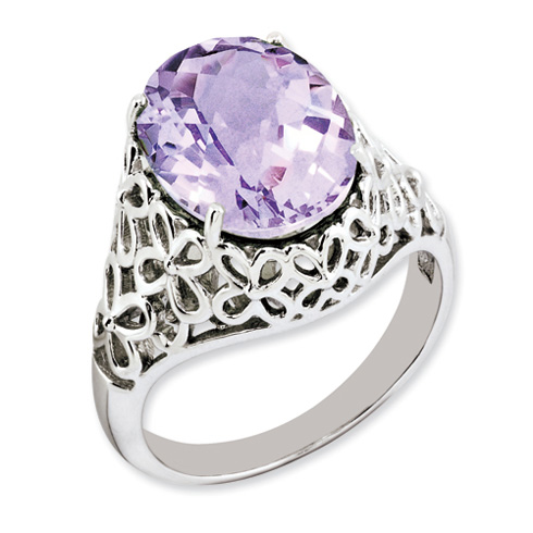 5.4 ct Sterling Silver Pink Quartz Ring