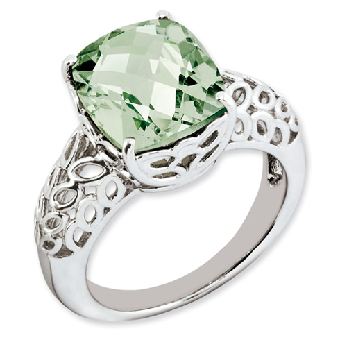 Sterling Silver 5.45 ct Green Quartz Ring with Fretwork Design