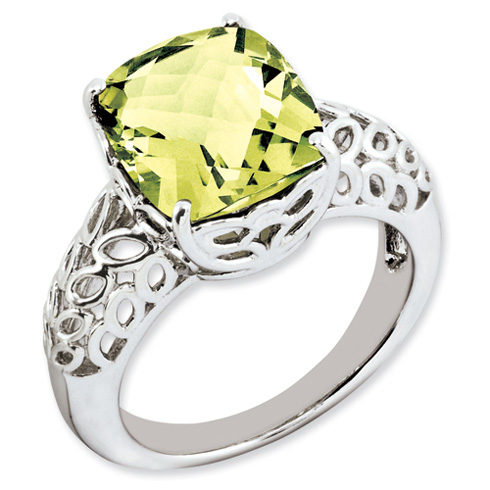 5.45 ct Sterling Silver Lemon Quartz Ring